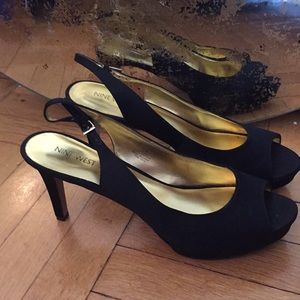 Nine West sling back peep toe heels